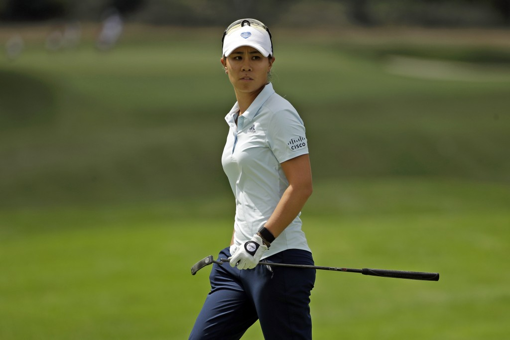 Danielle Kang looks over her putt on the seventh green during the first round of the LPGA Drive On Championship golf tournament at Inverness Golf Club...