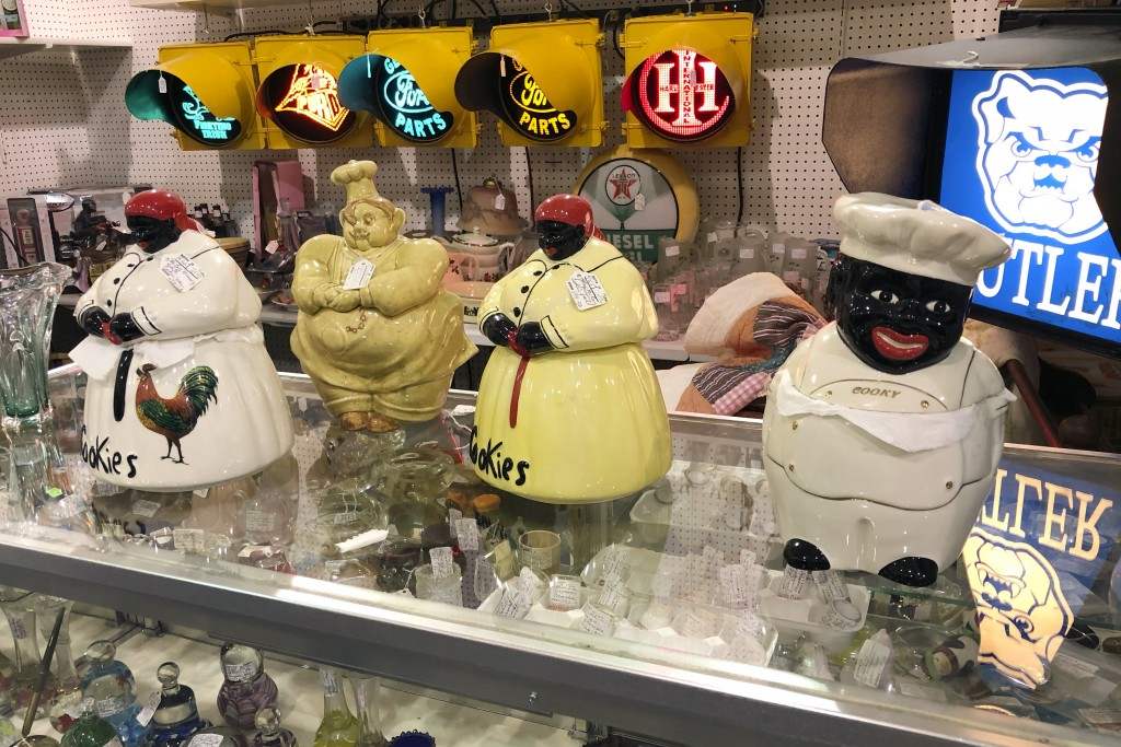 Coin banks featuring Black men and women with exaggerated features are for sale at Exit 76 Antique Mall in Edinburgh, Indiana, Tuesday, July 21, 2020....