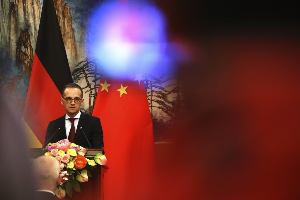 FILE-In this Nov. 13, 2018 file photo German Foreign Minister Heiko Maas speaks during a joint press conference at the Diaoyutai State Guesthouse in B...