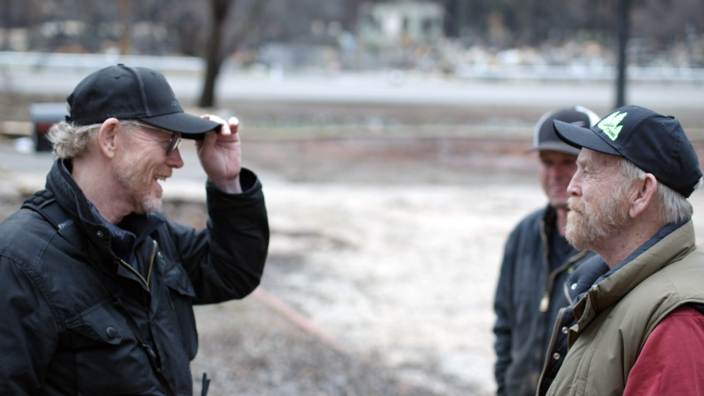 """This image released by National Geographic shows filmmaker Ron Howard, left, with Steve """"Woody"""" Culleton during the filming of the documentary """"Rebuil..."""