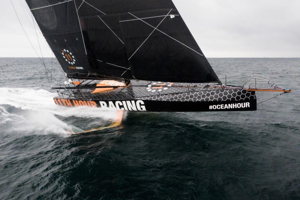 This July 25, 2020 photo provided by 11th Hour Racing shows the 11th Hour Racing Team during training off the coast of Concarneau, France, after a lon...