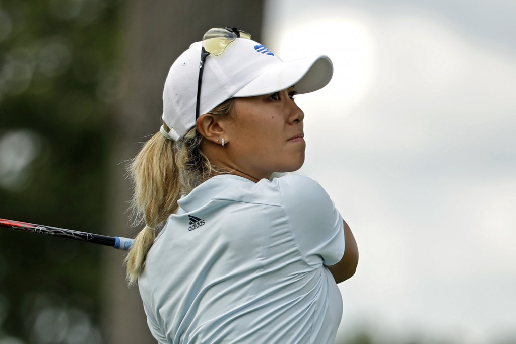 Danielle Kang hits her tee-shot on the eighth hole during the first round of the LPGA Drive On Championship golf tournament at Inverness Golf Club in ...