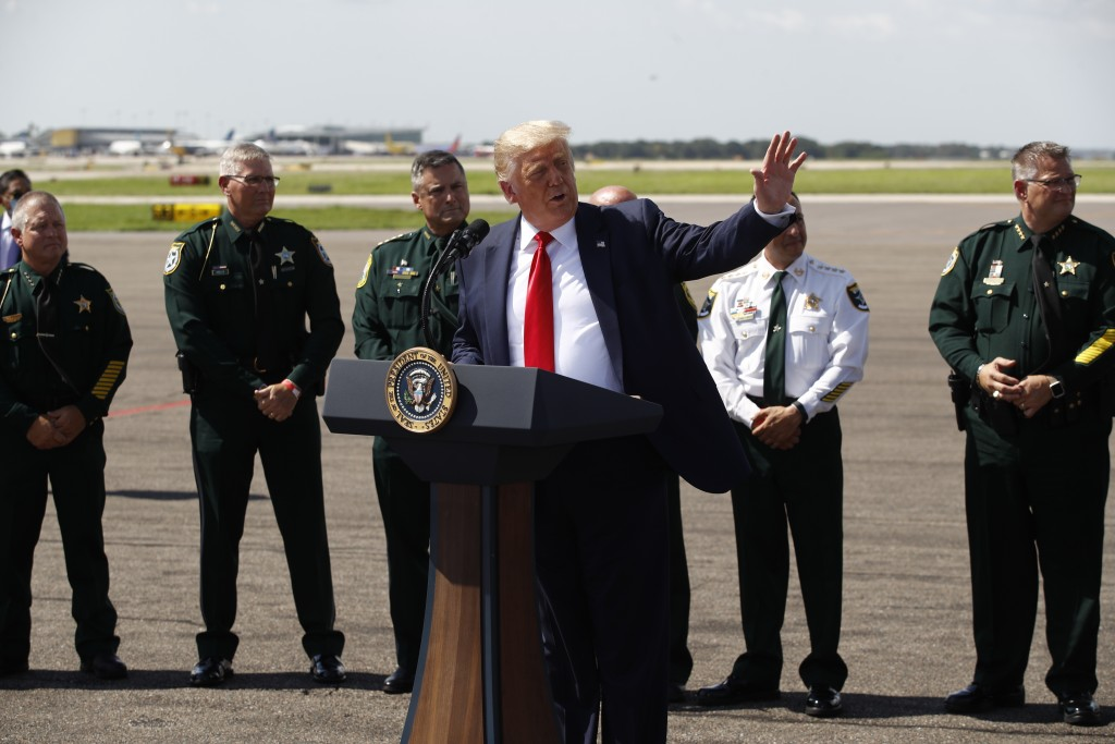 President Donald Trump speaks during a campaign event with Florida Sheriffs in Tampa, Fla., Friday, July 31, 2020. (AP Photo/Patrick Semansky)