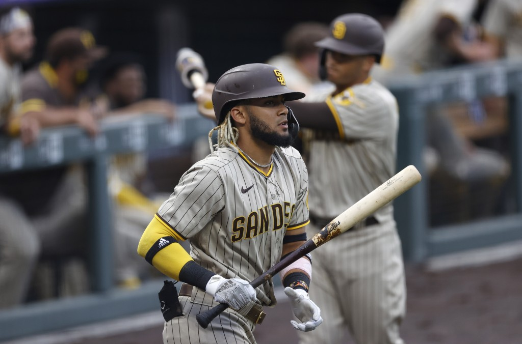 San Diego Padres' Fernando Tatis Jr. heads to the plate to lead off the first inning of a baseball game against the Colorado Rockies Friday, July 31, ...