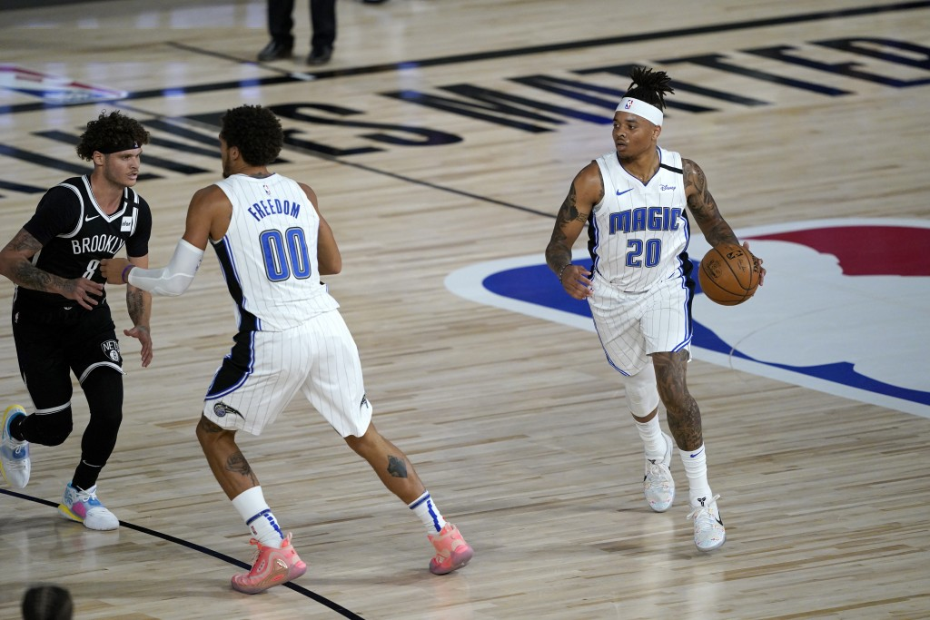 Orlando Magic's Markelle Fultz (20) brings the ball down the court during the first half of an NBA basketball game against the Brooklyn Nets Friday, J...