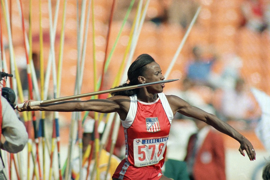 FILE - In this Sept. 24, 1988, file photo, Jackie Joyner-Kersee of East St. Louis, Ill., makes her javelin throw during heptathlon competition at the ...