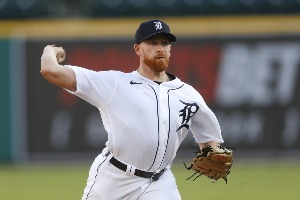 Detroit Tigers pitcher Spencer Turnbull throws against the Cincinnati Reds in the second inning of a baseball game in Detroit, Friday, July 31, 2020. ...