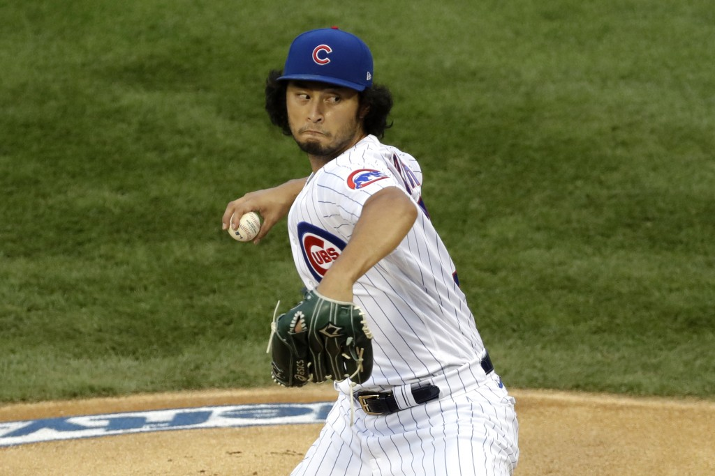 Chicago Cubs starting pitcher Yu Darvish, of Japan, throws against the Pittsburgh Pirates during the first inning of a baseball game in Chicago, Frida...