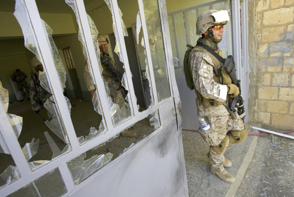 FILE—This file photo from Aug. 6, 2005, shows U.S. Marine Staff Sgt. Brian Hamilton of Columbus, Ohio, from Lima Company of the 3rd Battalion, 25th Re...