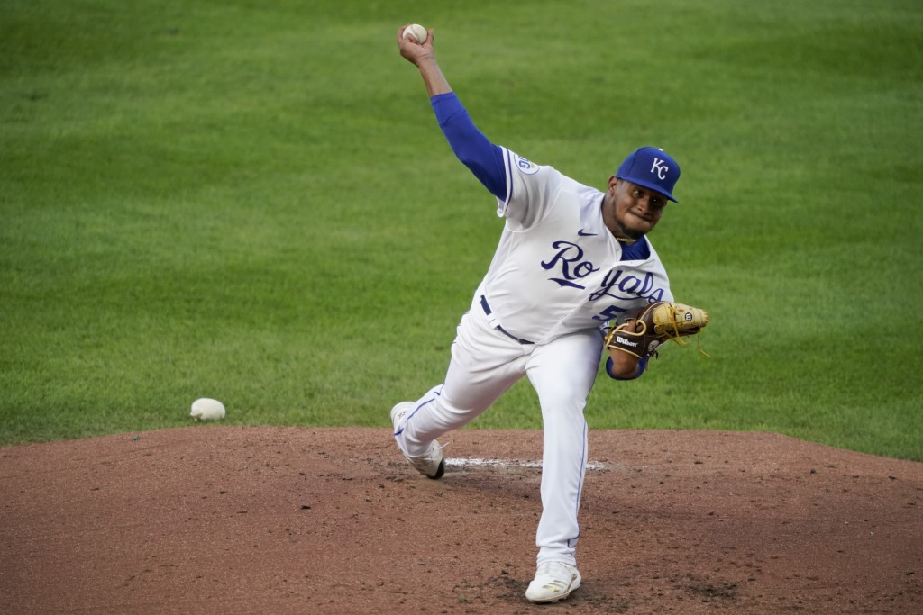 Kansas City Royals starting pitcher Ronald Bolaños throws during the second inning of the team's baseball game against the Chicago White Sox on Saturd...