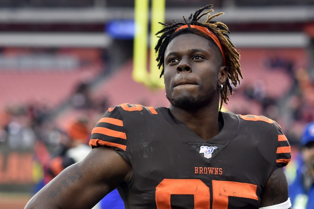 FILE - In this Dec. 8, 2019, file photo, Cleveland Browns tight end David Njoku walks off the field after an NFL football game against the Cincinnati ...