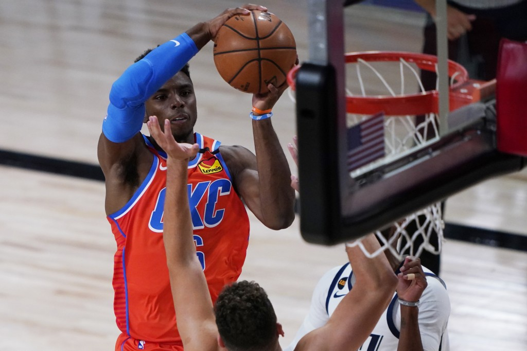 Oklahoma City Thunder's Hamidou Diallo shoots against the Utah Jazz during the first half of an NBA basketball game Saturday, Aug. 1, 2020, in Lake Bu...