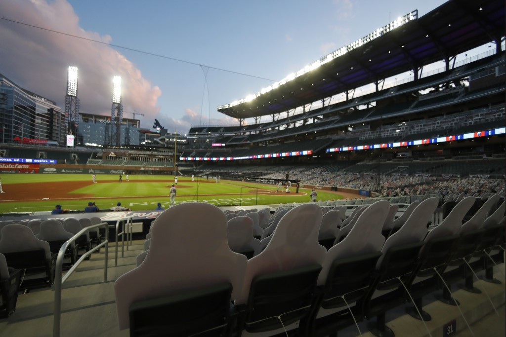 Atlanta Braves play the New York Mets with no fans in attendance at Truist Park during a baseball game Saturday, Aug. 1, 2020, in Atlanta. (AP Photo/J...