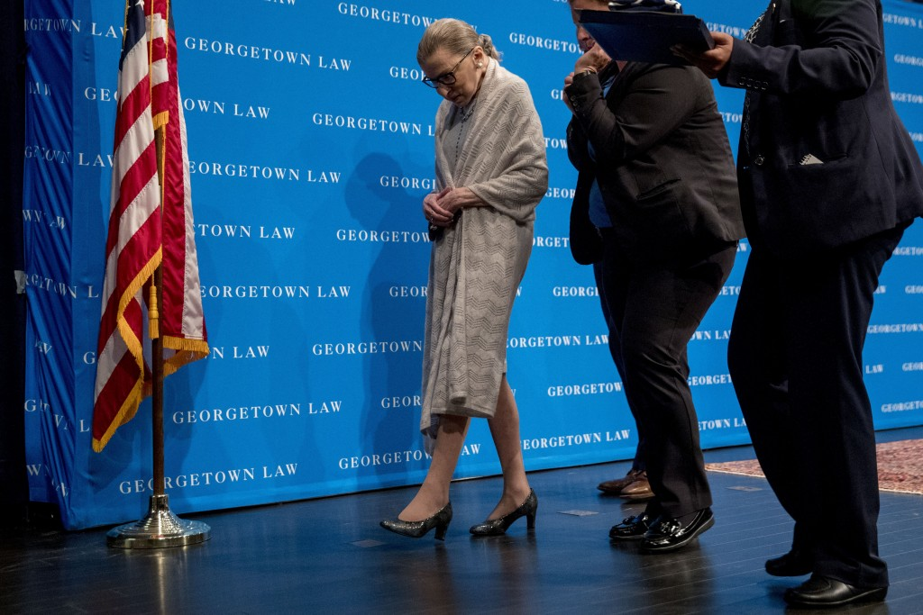 FILE - In this Sept. 12, 2019, file photo Supreme Court Justice Ruth Bader Ginsburg departs after speaking at Georgetown Law in Washington. Ginsburg i...