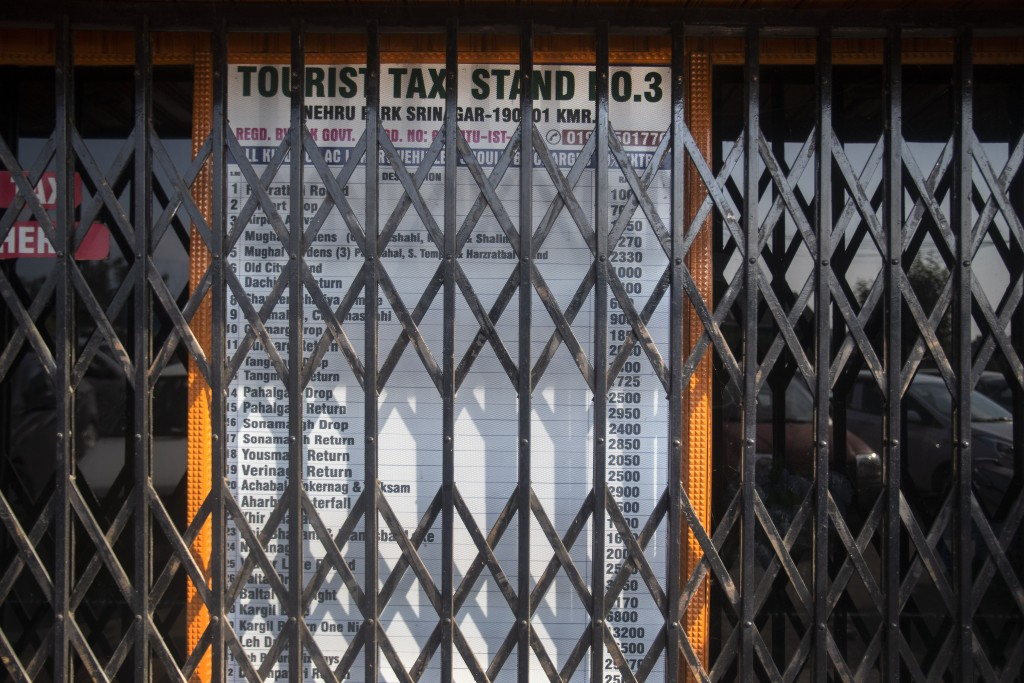 A taxi stand, which is never closed on normal days, is seen shut near the Dal lake in Srinagar, Indian controlled Kashmir,Tuesday, July 28, 2020. Indi...