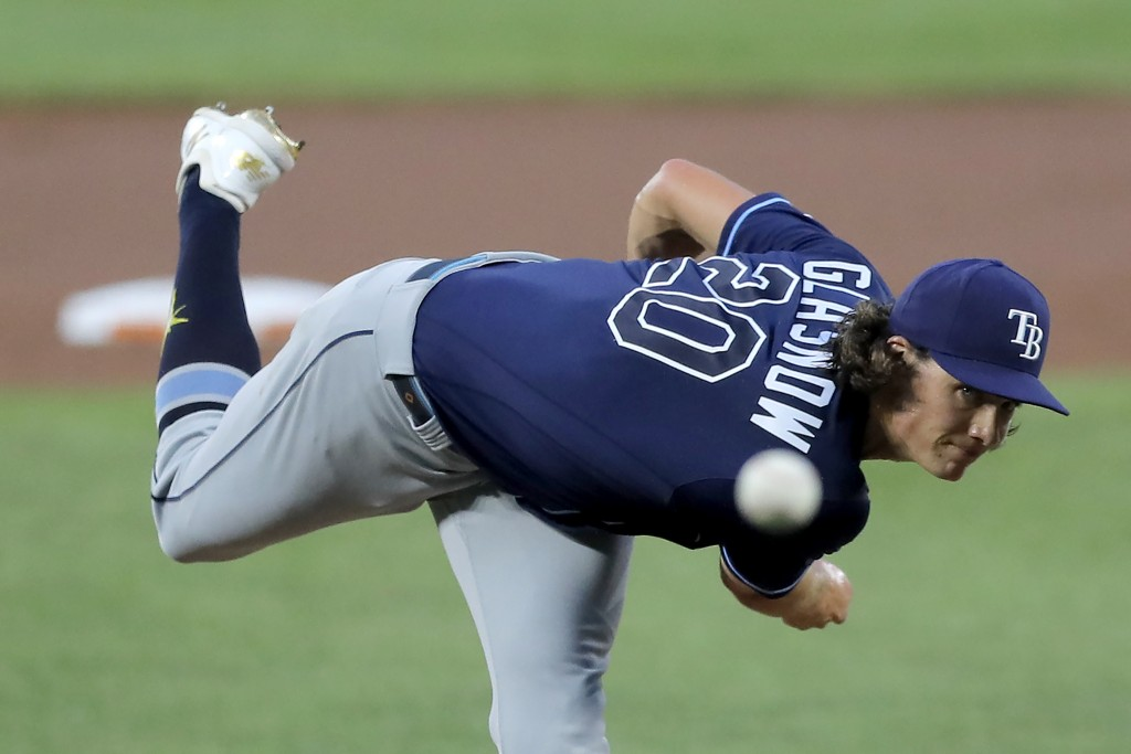 Tampa Bay Rays starting pitcher Tyler Glasnow throws a pitch to the Baltimore Orioles during the first inning of a baseball game, Saturday, Aug. 1, 20...