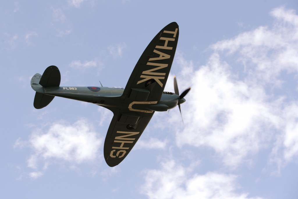 A plane fly displaying a write 'thank you NHS' prior to the start of the British Formula One Grand Prix at the Silverstone racetrack, Silverstone, Eng...