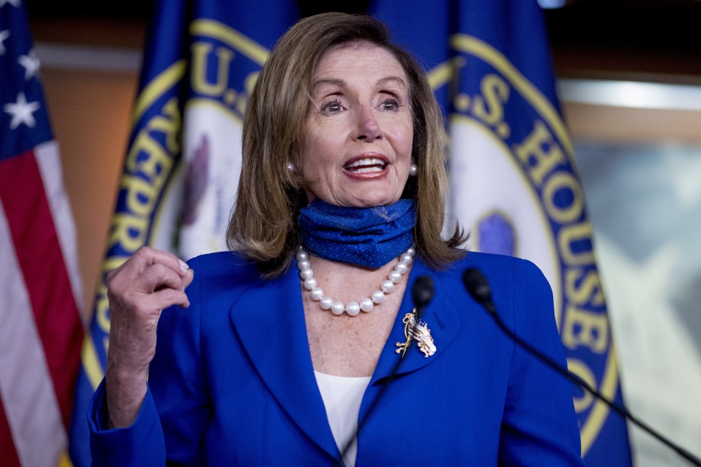 FILE - In this July 29, 2020, file photo House Speaker Nancy Pelosi of Calif. speaks at a press conference on Capitol Hill in Washington. This electio...