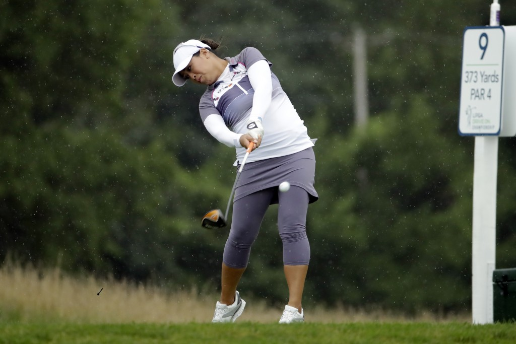 Jasmine Suwannapura from Thailand, hits her tee shot on the ninth hole during the second round of the LPGA Drive On Championship golf tournament at In...