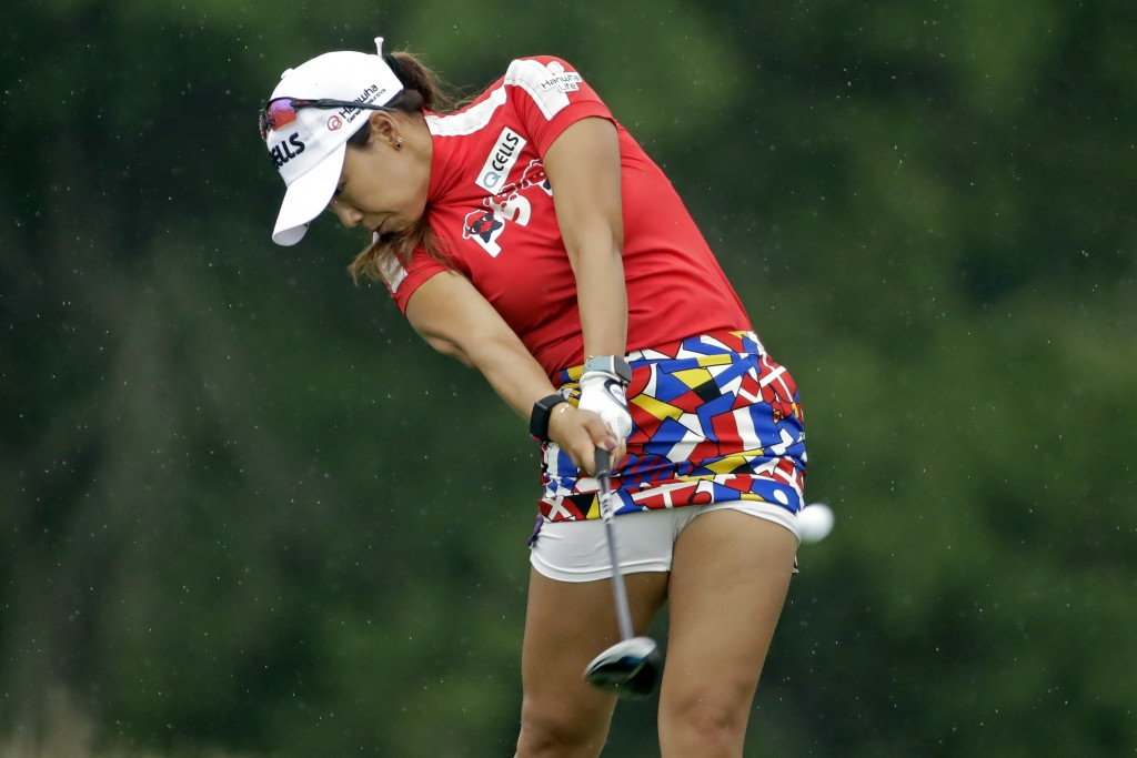 Jenny Shin, of South Korea, a hits her tee shot on the ninth hole during the second round of the LPGA Drive On Championship golf tournament at Inverne...