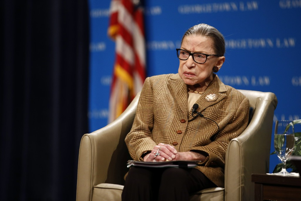 FILE - In this Feb. 10, 2020, file photo U.S. Supreme Court Associate Justice Ruth Bader Ginsburg speaks during a discussion on the 100th anniversary ...