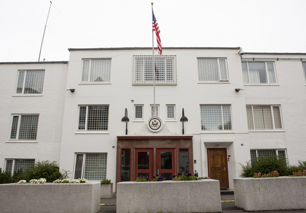 An exterior view of the US embassy in Reykjavik, Iceland Saturday Aug. 1, 2020. In Iceland, a nation so safe that its president runs errands on a bicy...