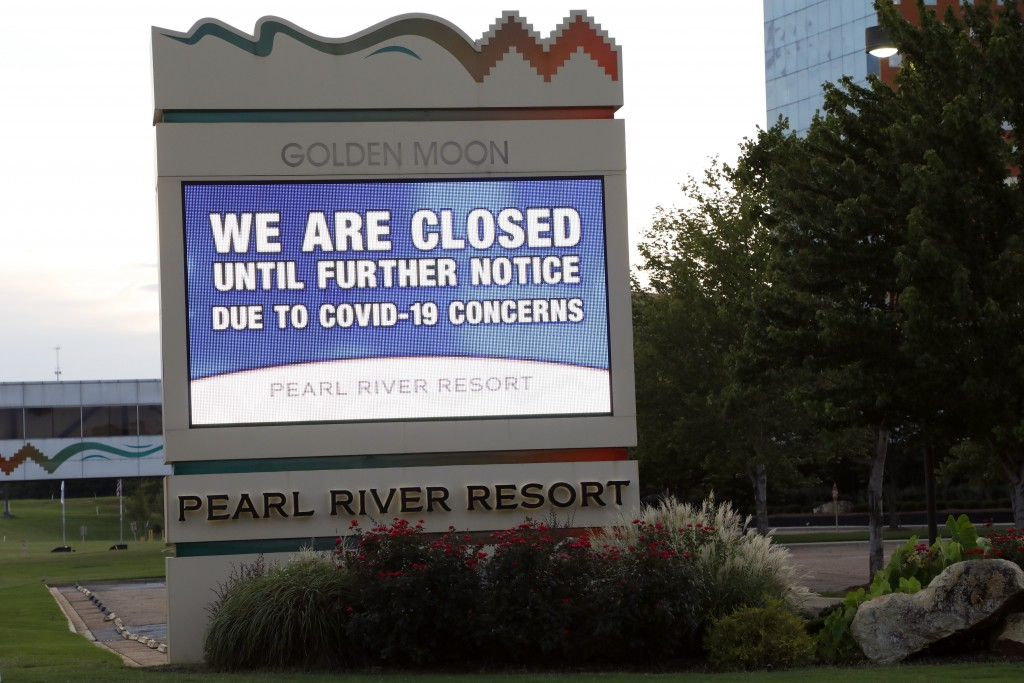Instead of welcoming visitors to the Pearl River Resort, the marquee outside the Golden Moon Casino and Hotel, informs the public that the gaming venu...