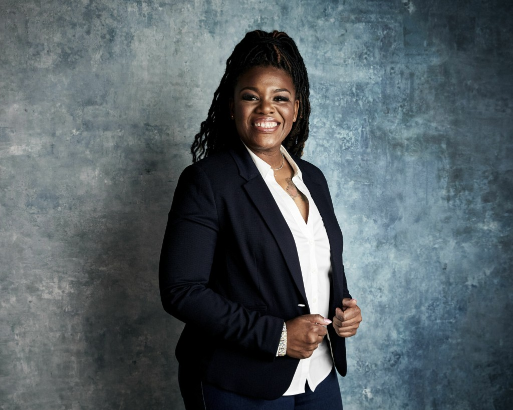 """FILE - In this Jan. 27, 2019, file photo Cori Bush poses for a portrait to promote the film """"Knock Down the House"""" at the Salesforce Music Lodge durin..."""
