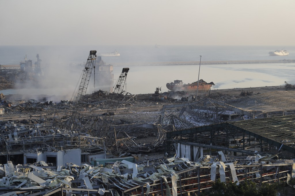 A destroyed port after a massive explosion is seen in Beirut, Lebanon, Wednesday, Aug. 5, 2020. The explosion flattened much of a port and damaged bui...