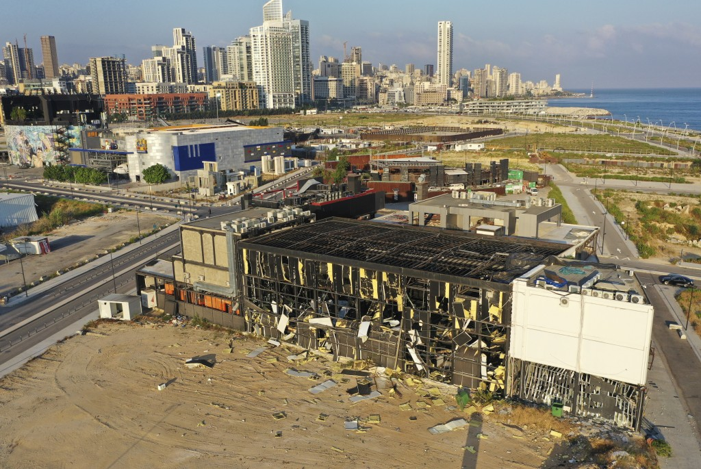 This drone picture shows a destroyed restaurant near the scene of an explosion that hit the seaport of Beirut, Lebanon, Wednesday, Aug. 5, 2020. A mas...