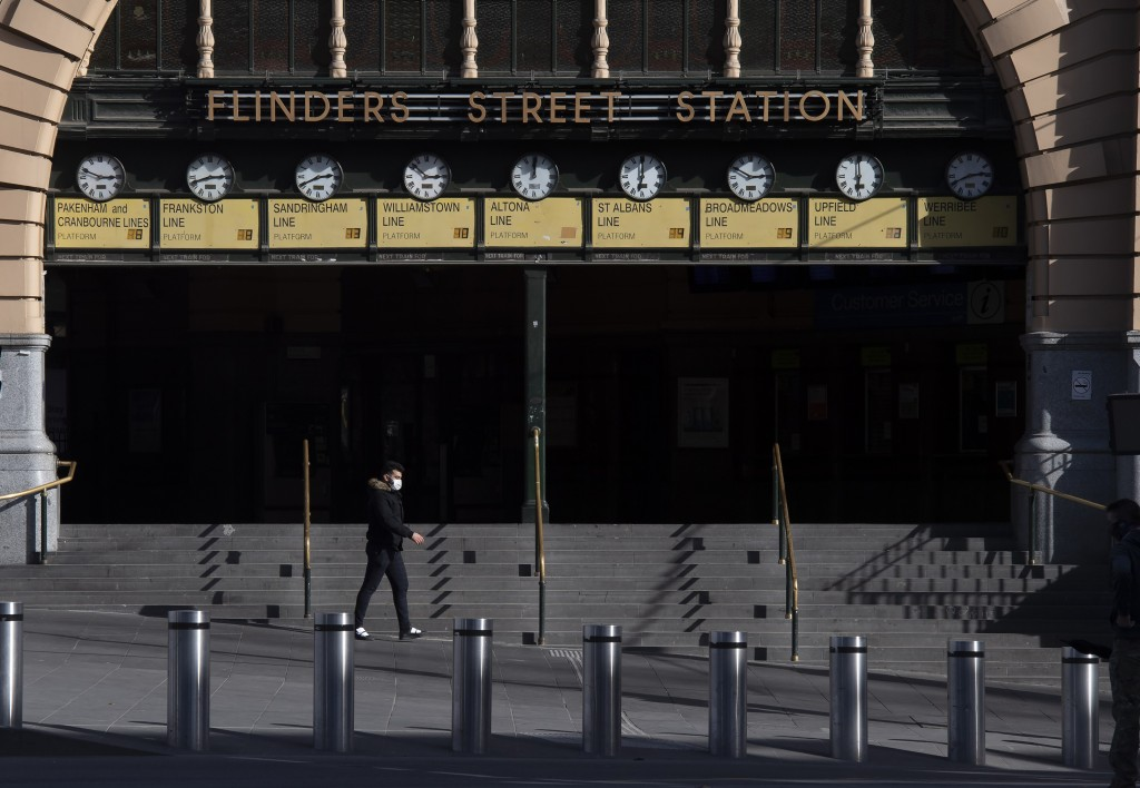 Flinders Street Station is quiet during lockdown due to the continuing spread of the coronavirus in Melbourne, Thursday, Aug. 6, 2020. Victoria state,...