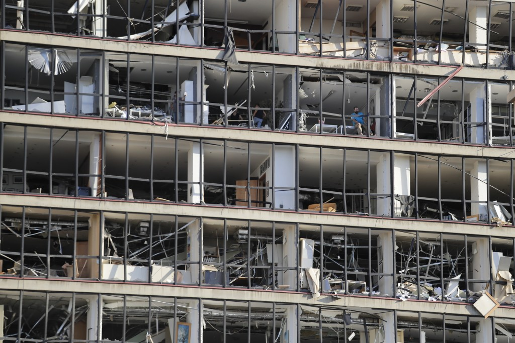 A damaged building is seen after a massive explosion in Beirut, Lebanon, Wednesday, Aug. 5, 2020. Massive explosions rocked downtown Beirut on Tuesday...