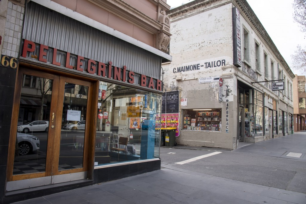 Pellegrinis Cafe and The Paperback book store are closed during lockdown due to the continuing spread of the coronavirus in Melbourne, Thursday, Aug. ...
