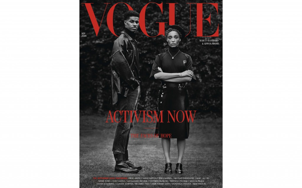 In this image made available Thursday Aug. 6, 2020, by British Vogue magazine, showing the September 2020 issue devoted to activism, with a cover feat...