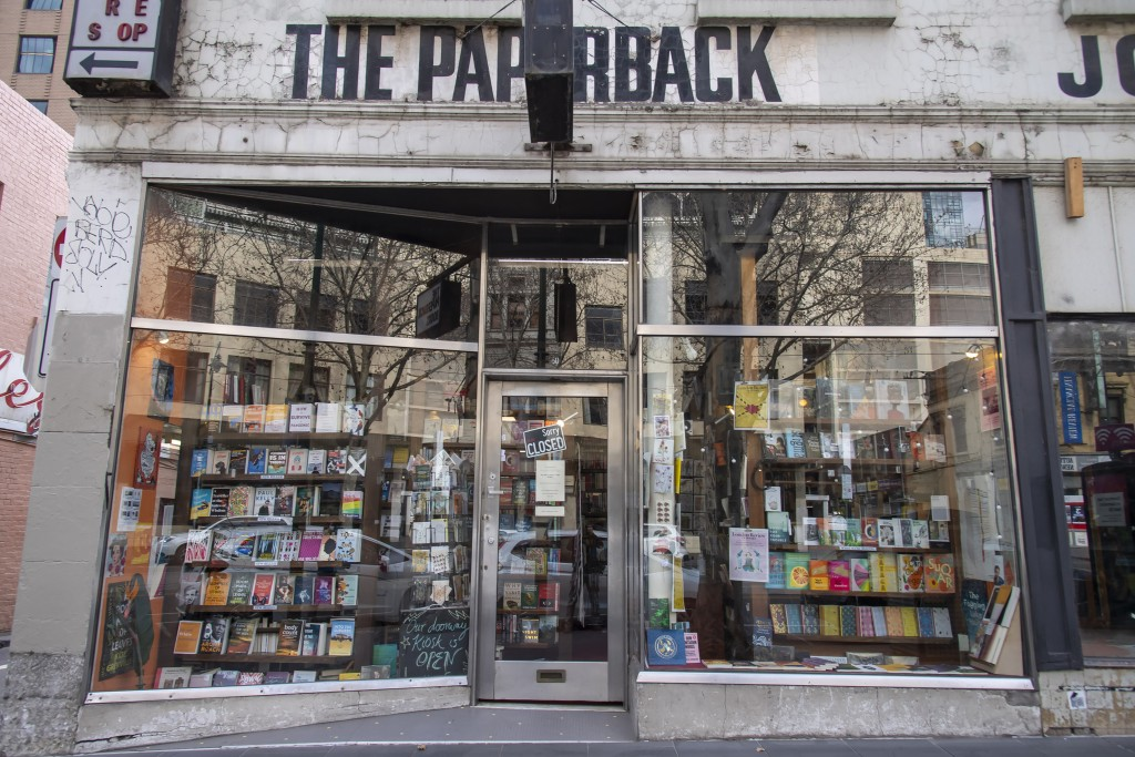 The Paperback bookstore sits closed during lockdown due to the continuing spread of the coronavirus in Melbourne, Thursday, Aug. 6, 2020. Victoria sta...