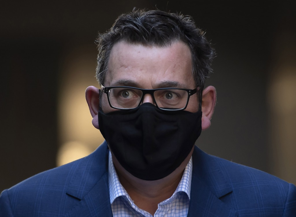 Victorian Premier Daniel Andrews arrives at a press conference during lockdown due to the continuing spread in Melbourne, Thursday, Aug. 6, 2020. Vict...