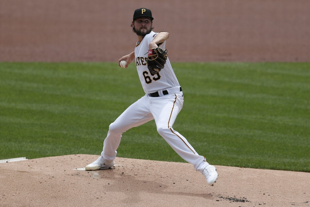 Pittsburgh Pirates starter JT Brubaker pitches against the Minnesota Twins in the first inning of a baseball game, Thursday, Aug. 6, 2020, in Pittsbur...