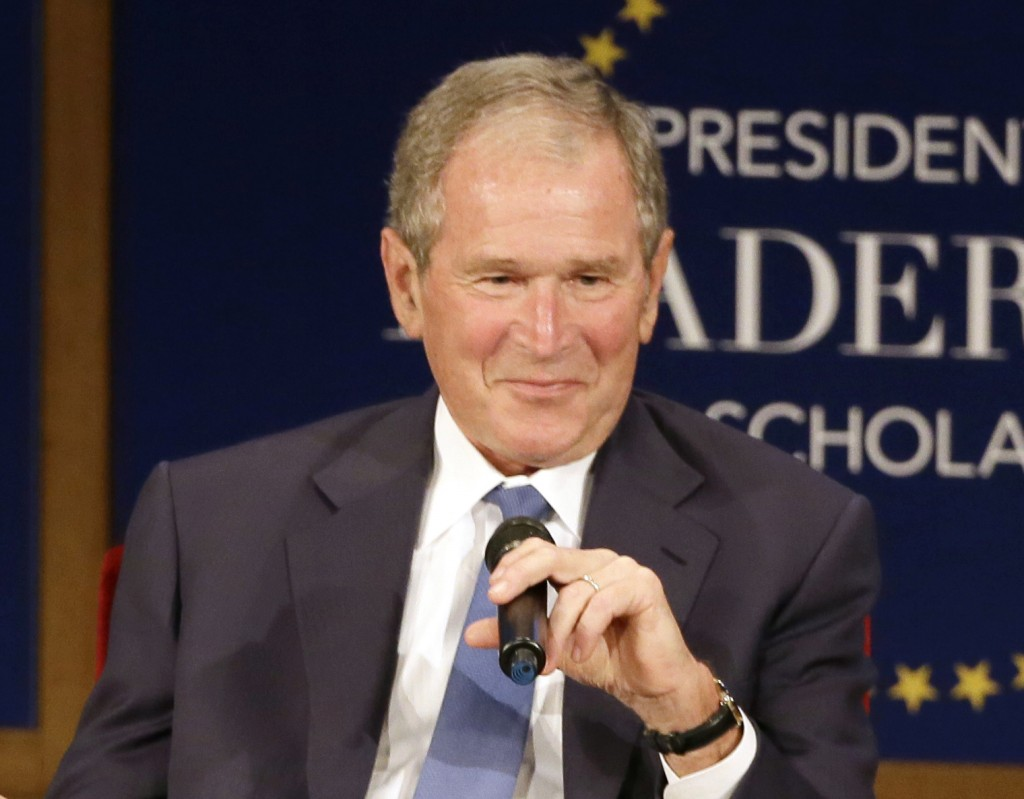 FILE - Former President George W. Bush, appears during a discussion at the Presidential Leadership Scholars graduation ceremony at the George W. Bush ...