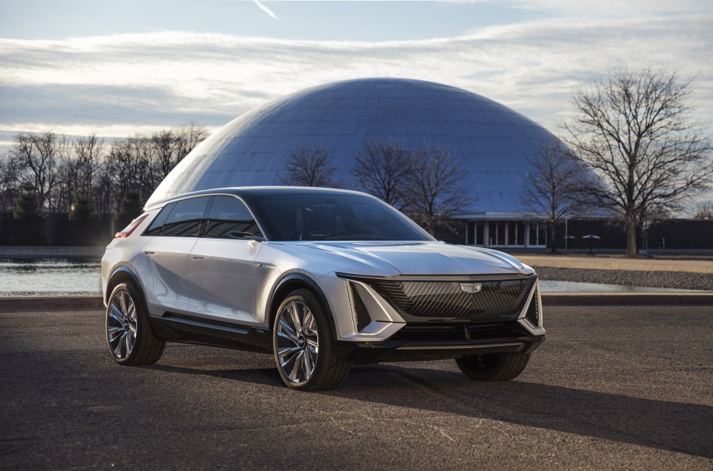 This photo provided by General Motors shows the Cadillac Lyriq. General Motors' Cadillac brand is the latest to roll out an electric vehicle with the ...