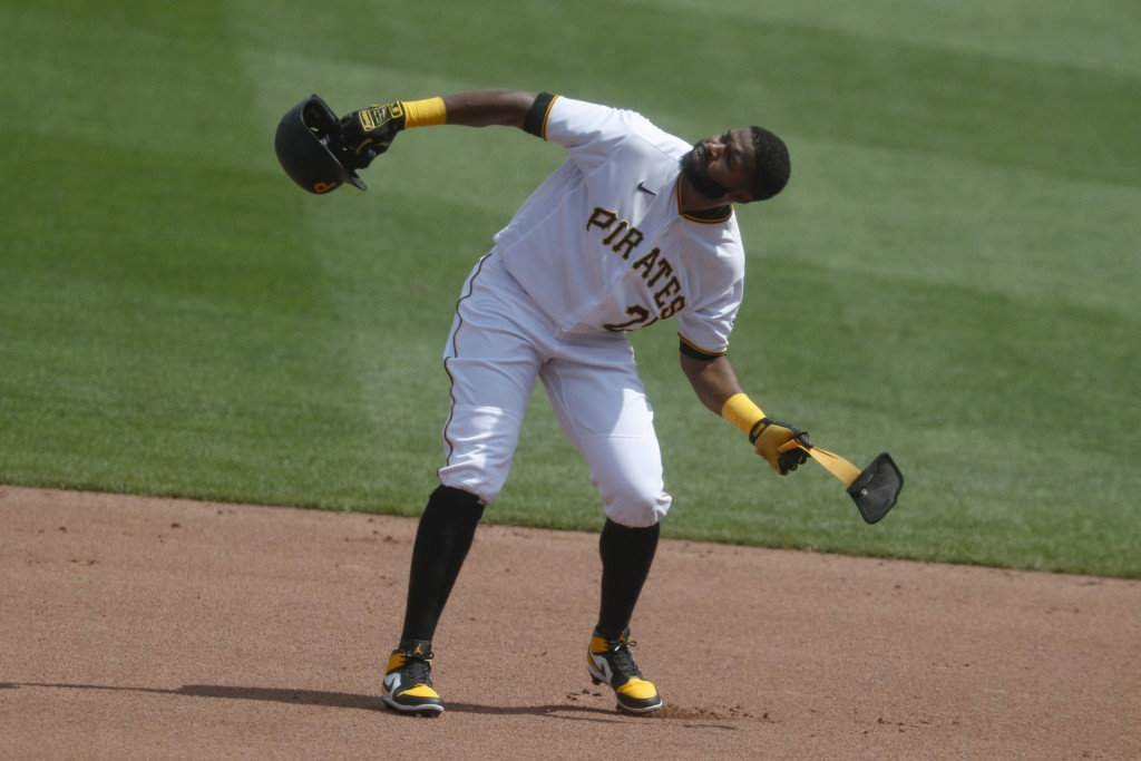 Pittsburgh Pirates' Gregory Polanco reacts after Minnesota Twins right fielder Max Kepler made a catch of a line drive he hit in the fourth inning of ...