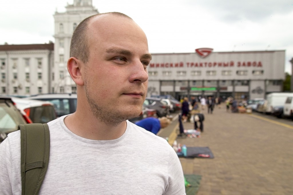 In this photo taken on Friday, Aug. 7, 2020, Kirill Egotin speaks to the Associated Press outside the Minsk Tractor Plant where he works in Minsk, Bel...