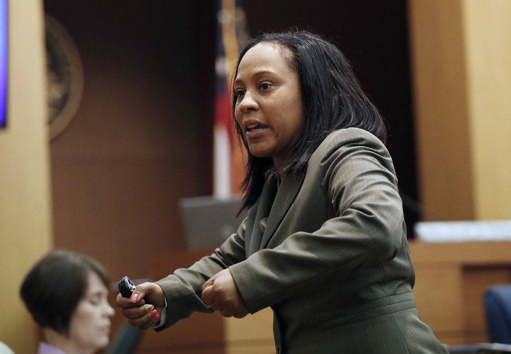 FILE - In this Wednesday, Aug. 24, 2016, file photo, Fulton County Deputy District Attorney Fani Willis makes her closing arguments during a trial in ...