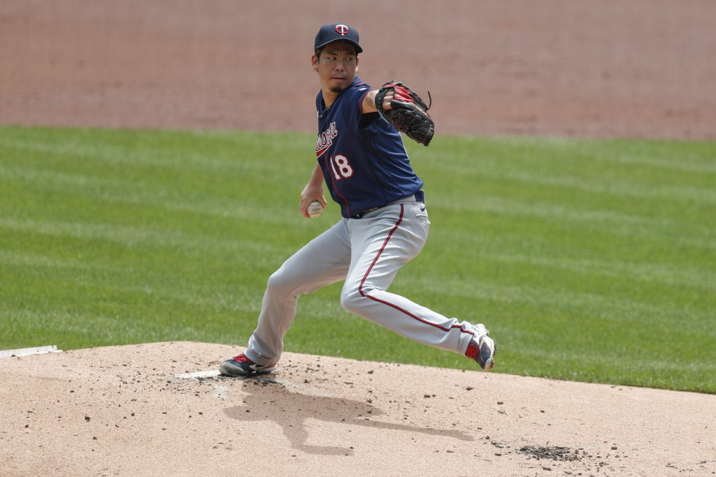 Minnesota Twins starter Kenta Maeda pitches against the Pittsburgh Pirates in the first inning of a baseball game, Thursday, Aug. 6, 2020, in Pittsbur...