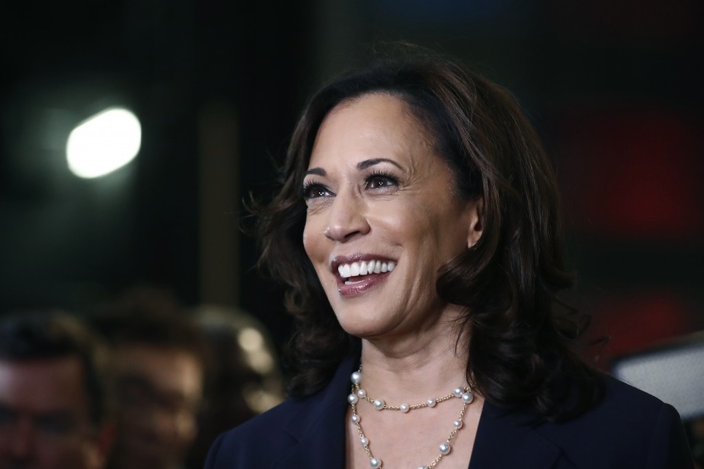FILE - In this June 27, 2019, file photo, then-Democratic presidential candidate Sen. Kamala Harris, D-Calif., listens to questions after the Democrat...