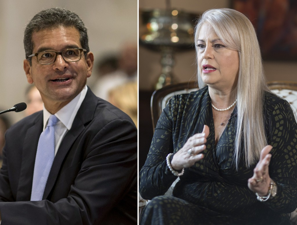 FILES - This combo of two file photos shows Pedro Pierluisi, left and Wanda Vazquez in San Juan, Puerto Rico. At left, Secretary of State Pedro Pierlu...