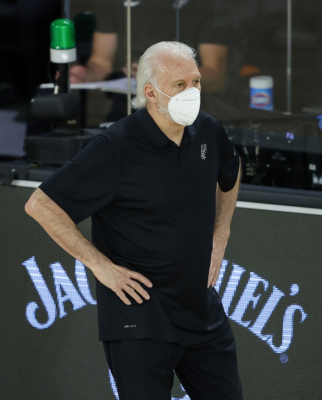 San Antonio Spurs head coach Gregg Popovich watches during the second half of an NBA basketball game against the Utah Jazz Friday, Aug. 7, 2020, in La...