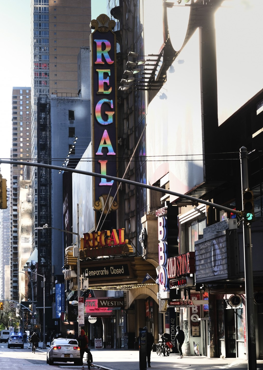 FILE - The Regal E-Walk movie theater is closed during the city lockdown due to the pandemic in New York on May 13, 2020. Regal movie theaters have be...