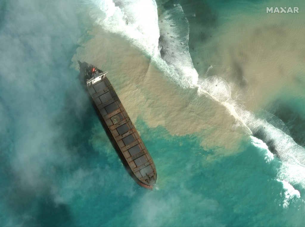 In this satellite image provided by 2020 Maxar Technologies on Friday, Aug. 7, 2020, an aerial view of the MV Wakashio, a bulk carrier ship that recen...