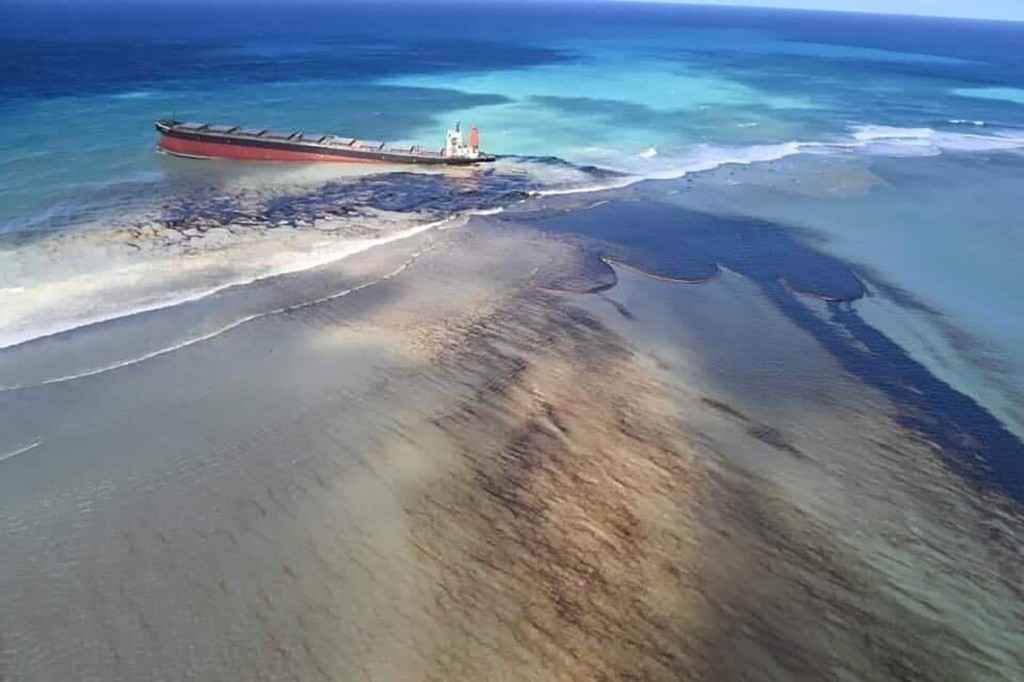 This photo taken and provided by Georges de La Tremoille of Mu Press shows oil leaking from the MV Wakashio, a bulk carrier ship that recently ran agr...