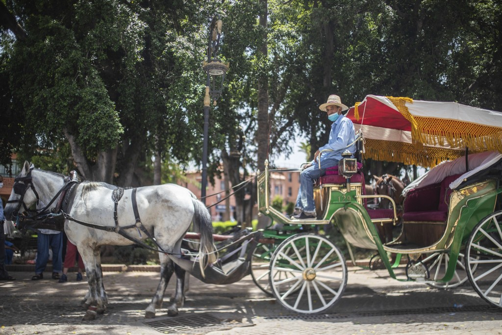 Abdeljalil Belghouate, a horse carriage owner, waits for customers in the landmark Jemma el-Fnaa in Marrakech, Morocco, Wednesday, July 22, 2020. (AP ...